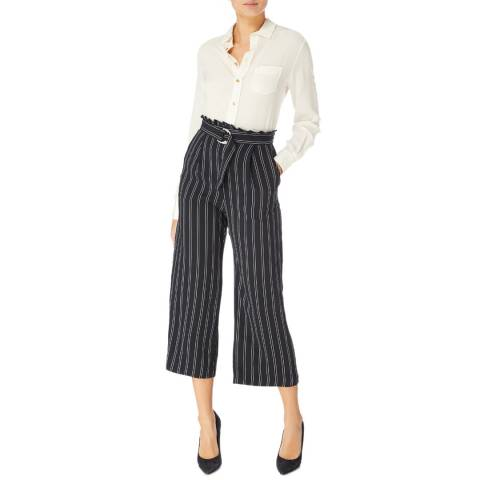 Karen Millen Navy/White Soft Striped Wide Trousers