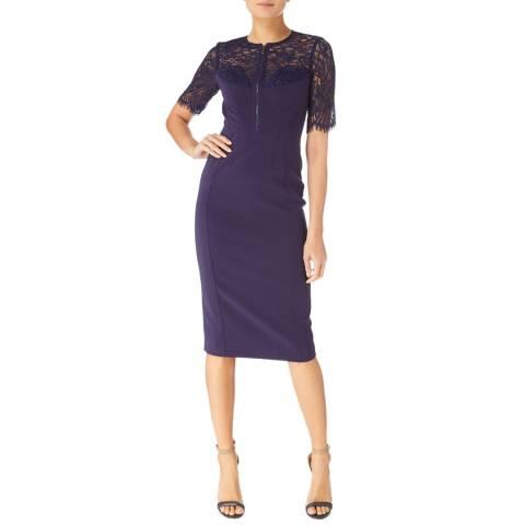 Karen Millen Navy Lace Panel Dress