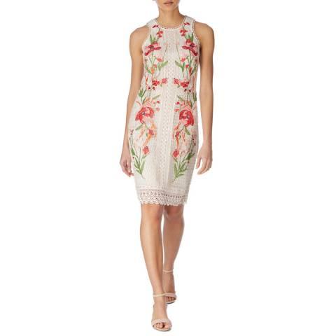 Karen Millen Cream/Multi Ascot Chemical Lace Dress
