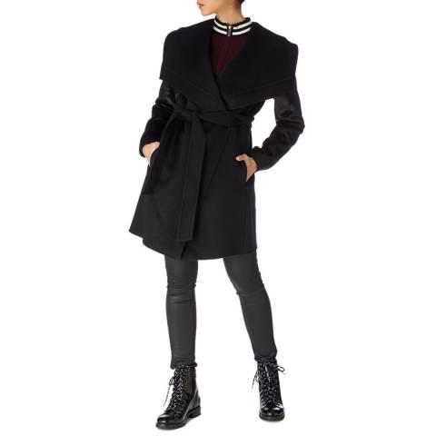 Karen Millen Black Faux Pony Sleeve Wool Blend Coat