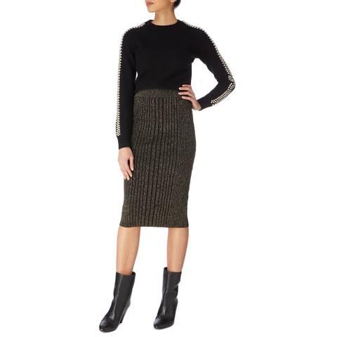 Karen Millen Black/Multi Embellished Wool Blend Jumper