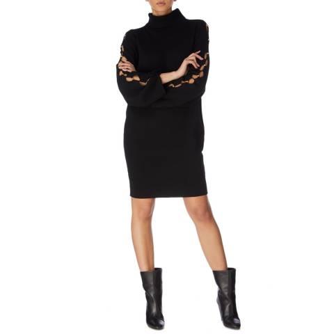 Karen Millen Black Hard Ware Lace Up Wool Jumper