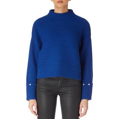 Karen Millen Blue Chunky Popper Cuff Cotton/Wool Blend Jumper