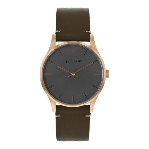 Jigsaw Cool Grey Rose Gold Plated Myddleton Watch 35mm