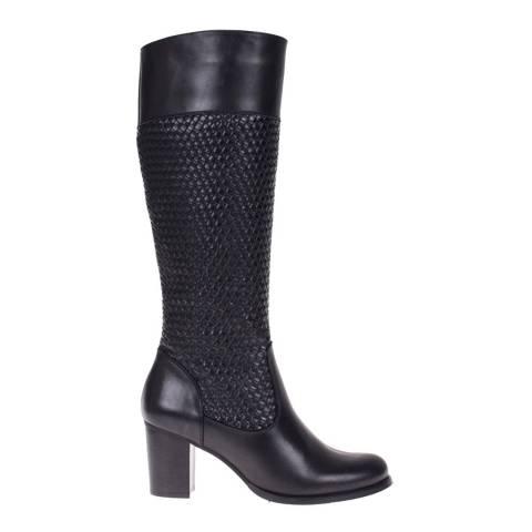 Roberto Botella Black Combined Knee High Boot