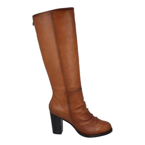 Roberto Botella Tan Knee High Faux Fur Lined Boot