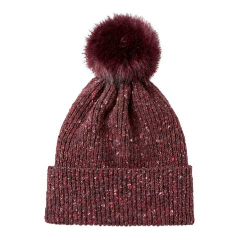Jigsaw Wine Donegal Faux Fur Pom Wool Hat