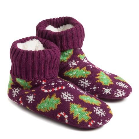 Wild Feet Burgundy Xmas Tree Cookies Knitted Bootie Socks