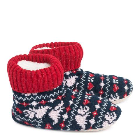 Wild Feet Black/Red Fairisle Knitted Bootie Socks