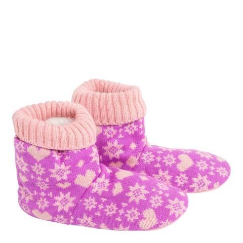 Wild Feet Pink Fairisle Knitted Bootie Socks