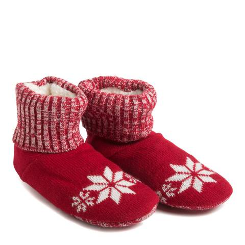 Wild Feet Red Snowflake Knitted Bootie Socks