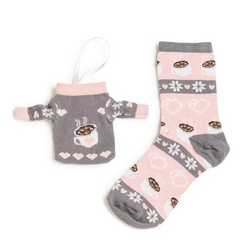 Wild Feet Pink Hot Chocolate Bauble Socks