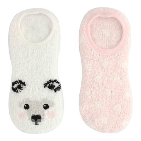 Wild Feet Cream/Pink Polar Bear Fluffy Socks