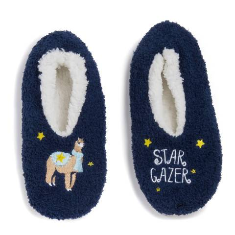 Wild Feet Navy Star Gazer Llama Slippers