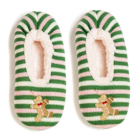 Wild Feet Pink/Green Gingerbread Man Slippers