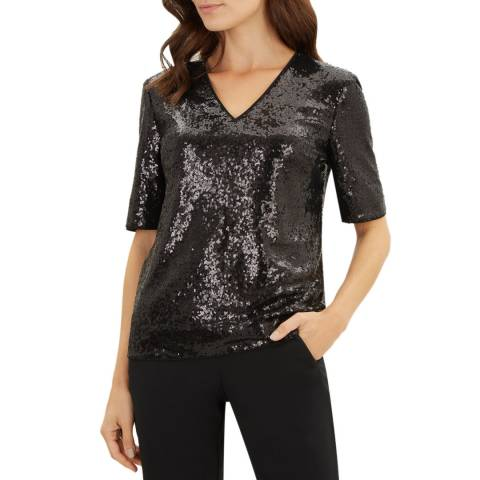 Jaeger Black Liquid Sequin Top
