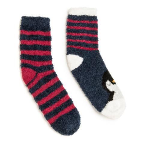 Wild Feet Navy/Red Penguin Fluffy Socks