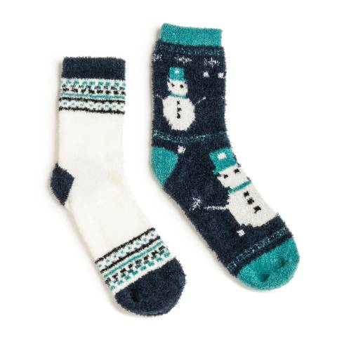 Wild Feet Navy Fairisle Snowman Fluffy Socks