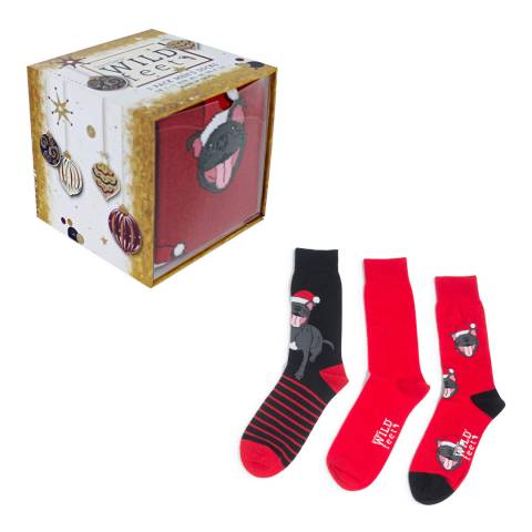 Wild Feet Navy/Red Smiling Staffie Gift Box  Socks