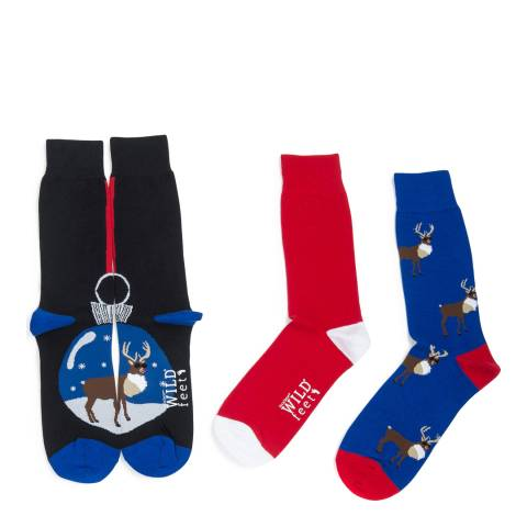 Wild Feet Navy/Red Bauble Rudolph 3 Pack Socks