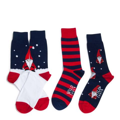 Wild Feet Navy/Red Nome Santa 3 Pack Socks