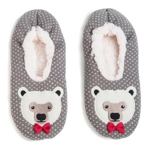 Wild Feet Grey Polar Bear Knitted Slipper