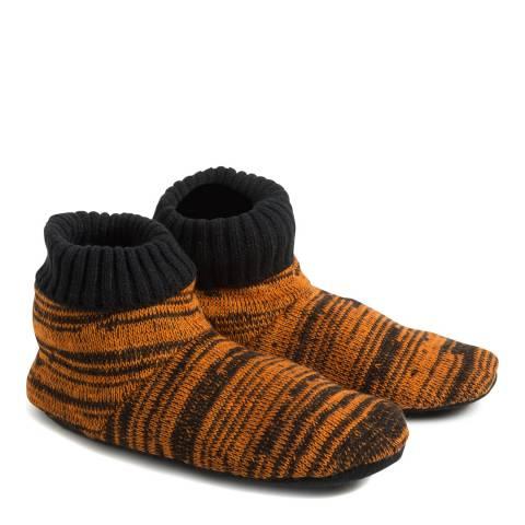 Wild Feet Black/Orange Mix Slipper Bootie