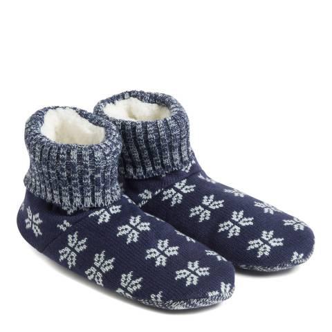 Wild Feet Navy Snowflake Slipper Bootie