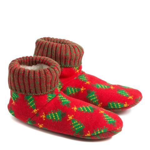 Wild Feet Red Christmas Tree Slipper Bootie
