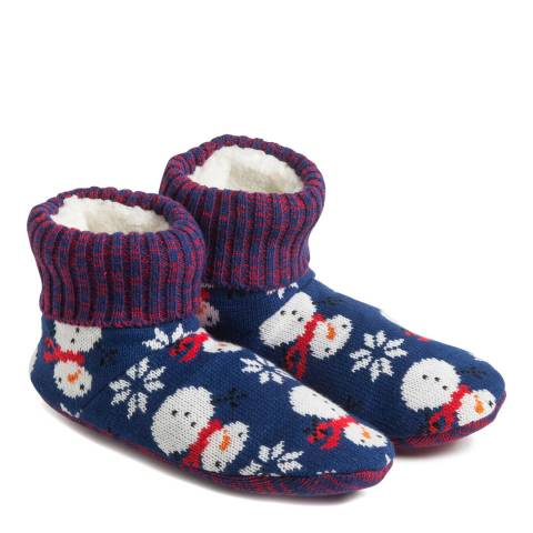 Wild Feet Navy Snowman Slipper Bootie