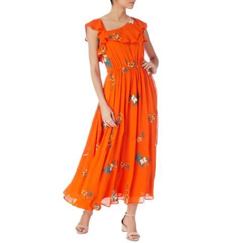 Karen Millen Orange/Multi Havana Embroidery Dress