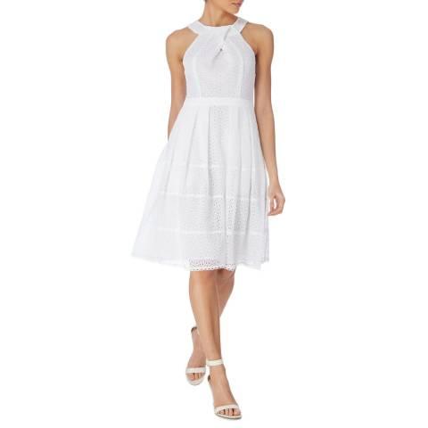 Karen Millen White Panelled Broderie Dress