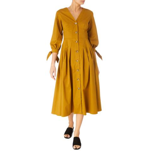 Karen Millen Brown Button Through Cotton Stretch Dress