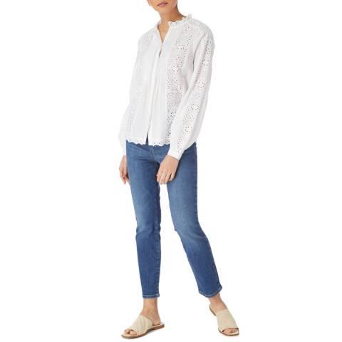 Karen Millen White Cotton Work Blouse