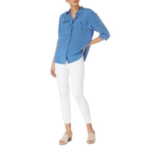 Karen Millen Blue Silk Utility Shirt