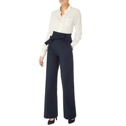 Karen Millen Navy Tie Waist Eyelet Wide Trousers