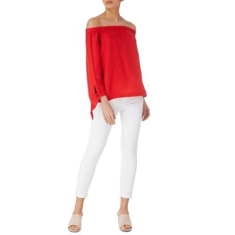Karen Millen Red Linen Bardot Top