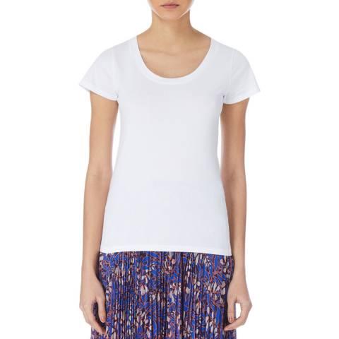 Karen Millen White Scoop Cotton T-Shirt