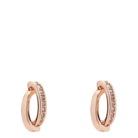 Karen Millen Rose Gold Oval Pave Chain Stud Earrings