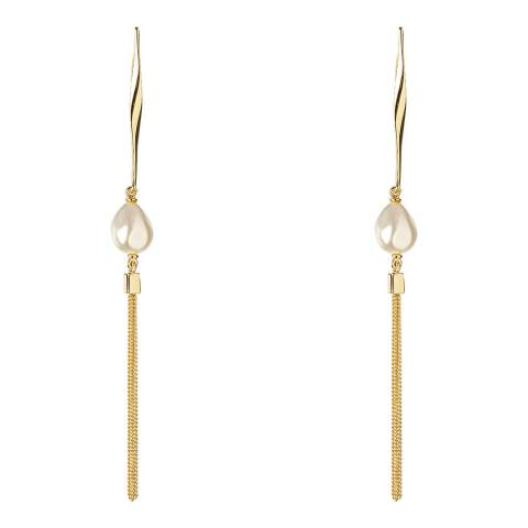 Karen Millen Gold Modern Pearl Long Drop Earrings