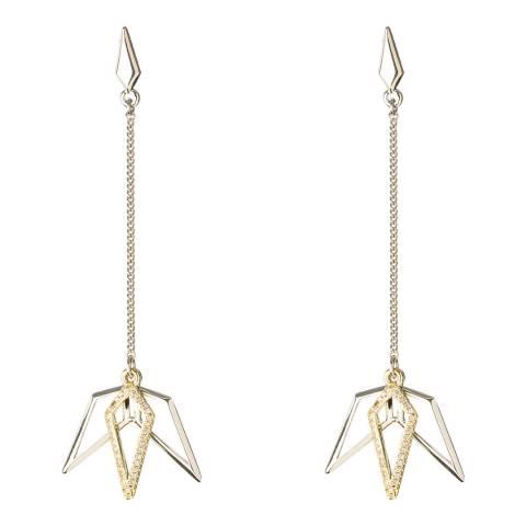 Karen Millen Silver Micro Crystal Drop Earrings