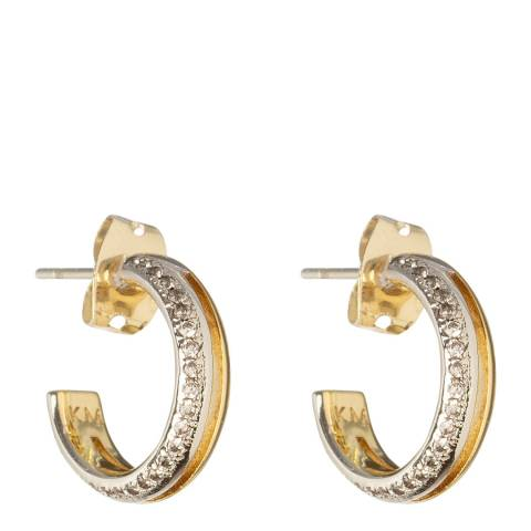 Karen Millen Silver and Gold Mirco Crystal Hoop Earrings