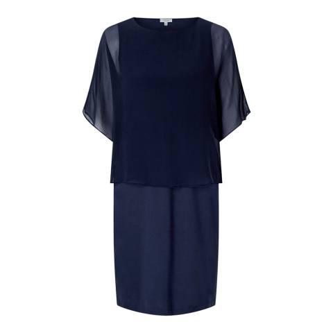 Jigsaw Navy Silk Overlay Dress