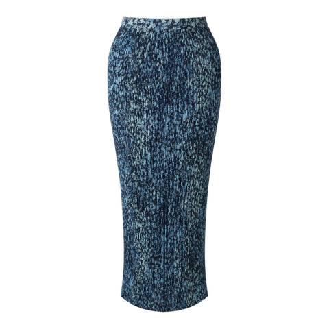 Jigsaw Navy Shadow Floral Pleated Midi Skirt
