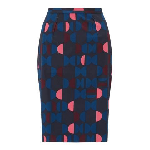 Jigsaw Navy Geo Pencil Skirt