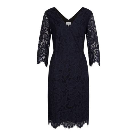 Jigsaw Navy 3/4 Sleeve V Neck Lace Dress