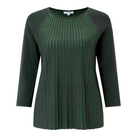 Jigsaw Green Contrast Pleat Top