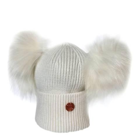 Look Like Cool Newborn White Cashmere Pom Pom Beanie Hat