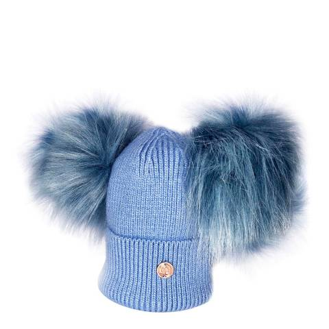 Look Like Cool Newborn Blue Cashmere Pom Pom Beanie Hat