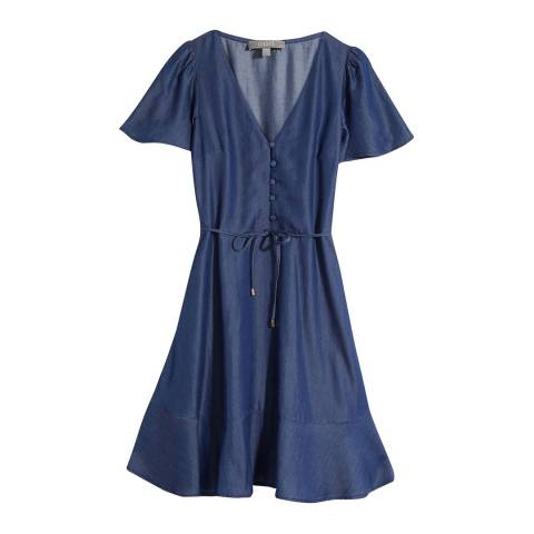 Oasis Blue Button Through Skater Dress
